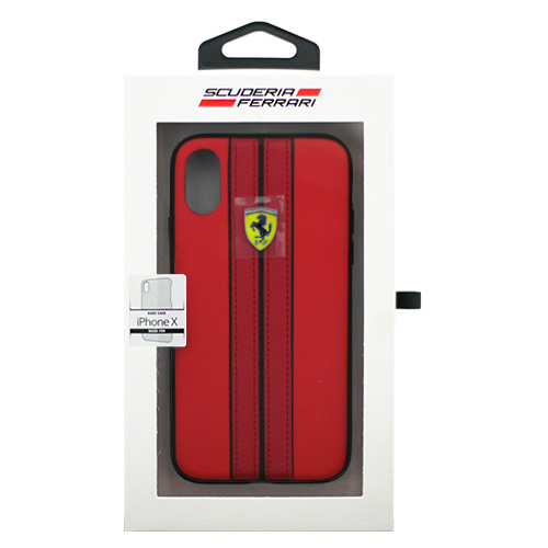 生活関連グッズ Ferrari iPhoneX専用 PUレザーハードケース ON TRACK - PU leather Hard case - ON TRACK LOGO- Red IPHONE X FESURHCPXREB
