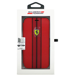 お役立ちグッズ Ferrari iPhoneX専用 PUレザー手帳型ケース ON TRACK - PU leather Booktype case - ON TRACK LOGO- Red IPHONE X FESURFLBKPXREB