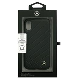 便利雑貨 Mercedes 公式ライセンス品 iPhoneX専用 本革ハードケース PATTERN II - Genuine Leather - Hard Case - Black iPhone X MEHCPXCLIBK
