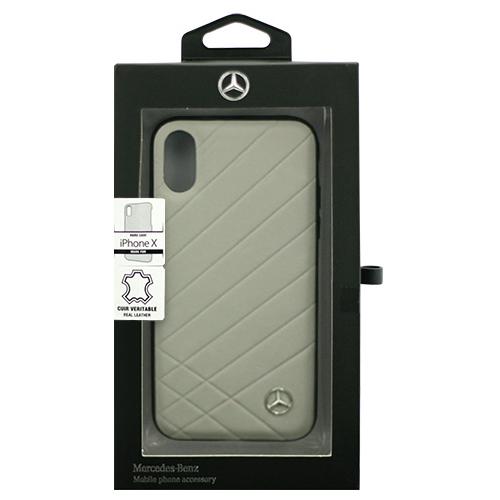 日用品 便利 ユニーク Mercedes 公式ライセンス品 iPhoneX専用 本革ハードケース PATTERN II - Genuine Leather - Hard Case - Crystal Grey iPhone X MEHCPXCLIGR