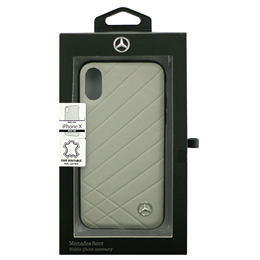 便利雑貨 Mercedes 公式ライセンス品 iPhoneX専用 本革ハードケース PATTERN II - Genuine Leather - Hard Case - Crystal Grey iPhone X MEHCPXCLIGR