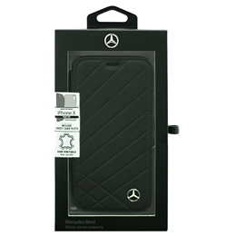 便利雑貨 Mercedes 公式ライセンス品 iPhoneX専用 本革手帳型ケース PATTERN II - Genuine Leather -Booktype Case - Black iPhone X MEFLBKPXCLIBK