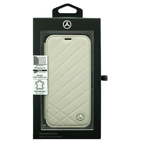 日用品 便利 ユニーク Mercedes 公式ライセンス品 iPhoneX専用 本革手帳型ケース PATTERN II - Genuine Leather - Booktype Case - Crystal Grey iPhone X MEFLBKPXCLIGR