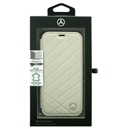 便利雑貨 Mercedes 公式ライセンス品 iPhoneX専用 本革手帳型ケース PATTERN II - Genuine Leather - Booktype Case - Crystal Grey iPhone X MEFLBKPXCLIGR