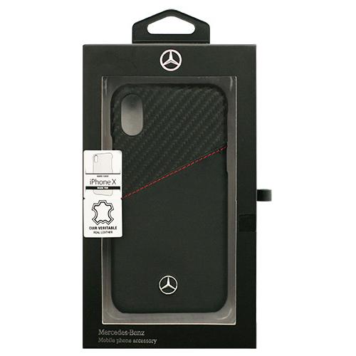 生活関連グッズ Mercedes 公式ライセンス品 iPhoneX専用 背面ポケット付き本革ハードケース DYNAMIC - Genuine leather and Carbon Case with card slot iPhone X MEHCPXCSCALBK