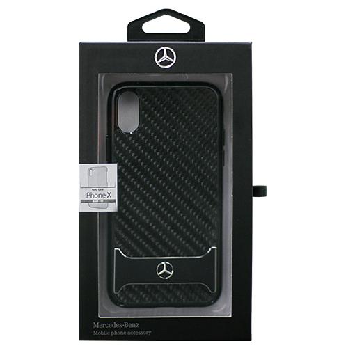生活関連グッズ Mercedes 公式ライセンス品 iPhoneX専用 リアルカーボン+アルミ ハードケース DYNAMIC - Real Carbon fiber Case with Aluminuim stripe - Black iPhone X MEHCPXHACABK