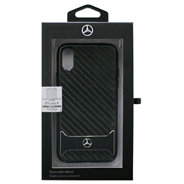 便利雑貨 Mercedes 公式ライセンス品 iPhoneX専用 リアルカーボン+アルミ ハードケース DYNAMIC - Real Carbon fiber Case with Aluminuim stripe - Black iPhone X MEHCPXHACABK