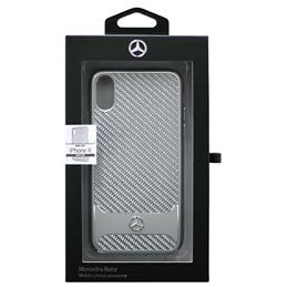 便利雑貨 Mercedes 公式ライセンス品 iPhoneX専用 ガラスファイバー+アルミ ハードケース DYNAMIC - Real Carbon fiber Case with Aluminuim stripe - Silver iPhone X MEHCPXHACASI