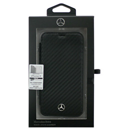 Mercedes iPhoneX専用 カーボン調PU手帳型ケース Dynamic - PU Leather - Booktype case with transparent back holder iPhone X MEFLBKPXCFBK