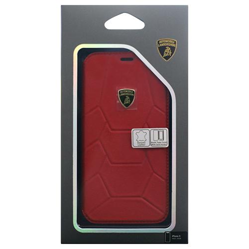 生活関連グッズ Lamborghini 公式ライセンス品 iPhoneX専用 本革手帳型ケース Aventador-D7 Book type RDLB-TPUFCIPX-AV/D7-RD