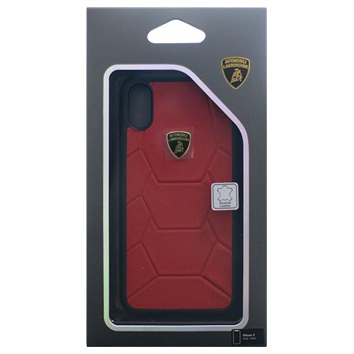 生活関連グッズ Lamborghini 公式ライセンス品 iPhoneX専用 本革ハードケース Aventador-D7 Back cover RDLB-TPUPCIPX-AV/D7-RD