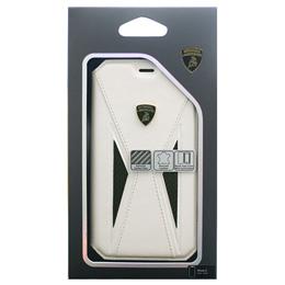便利雑貨 Lamborghini 公式ライセンス品 iPhoneX専用 本革+カーボン手帳型ケース Aventador-D8 Book type WHLB-TPUFCIPX-AV/D8-WE