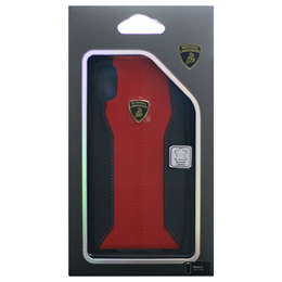 便利雑貨 Lamborghini 公式ライセンス品 iPhoneX専用 本革ハードケース Huracan-D1 Back cover RDLB-HCIPX-HU/D1-RD