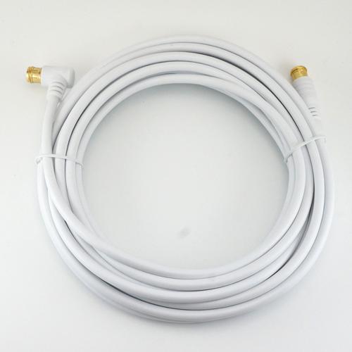 便利雑貨 【15個セット】 アンテナケーブル 7m ホワイト 両側F型差込式コネクタ L字/ストレートタイプ HAT70-119LPWHX15