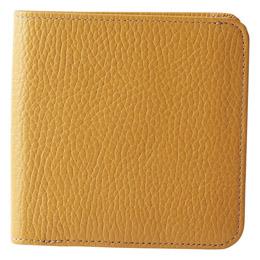 日本製牛革手作り2つ折れ財布 キャメル