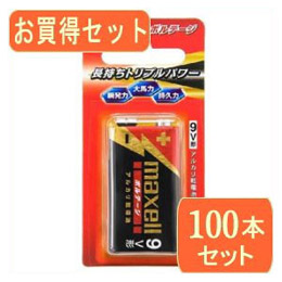 便利雑貨 9V型アルカリ乾電池 ボルテージ006P 6LF22(T) 1Bx100パック 6LF22(T) 1BX100