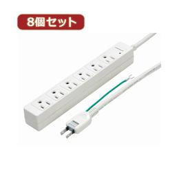 PCアクセサリー 関連商品 YAZAWA 【8個セット】3Pマグネットタップ Y02JKP605WHX8