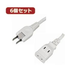 便利雑貨 【6個セット】耐トラ付タップ2個口 Y02205WHX6