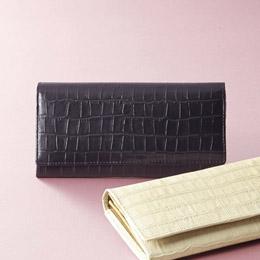 便利雑貨 婦人用型押し長財布 ブラック