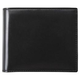 日用品雑貨関連 コードバン二つ折財布(ブラック)