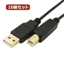 便利雑貨 【10個セット】 極細USBケーブルAオス-Bオス 5m USB2A-B/CA500X10