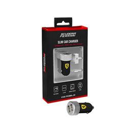 便利雑貨 Ferrari 公式ライセンス品 2USBポート 2.1A車載充電器 USB-Lingtning USB-DOCKケーブル2本付(Slim Car Charger) FERUCC2UAPBL