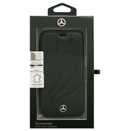 便利雑貨 iPhoneX専用 本革手帳型ケース ORGANIC II - Genuine leather Booktype Case - Black iPhone X MEFLBKPXDCLBK