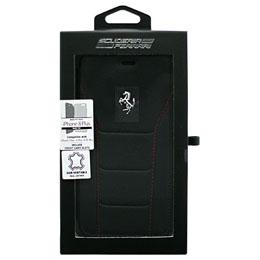 便利雑貨 iPhone8 Plus/7 Plus/6s Plus/6 Plus専用 488 本革手帳型ケース 488 - Booktype Case - Black Genuine Leather - Red Stitches - Silver Logo FESEFLBKI8LBKR