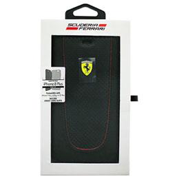 便利雑貨 iPhone8 Plus/7 Plus/6s Plus/6 Plus専用 PUレザー手帳型ケース PIT STOP - Booktype Case - Red Trim - Black Carbon design FEPIFLBKI8LBK