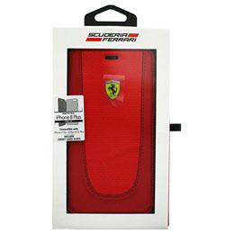 便利雑貨 iPhone8 Plus/7 Plus/6s Plus/6 Plus専用 PUレザー手帳型ケース PIT STOP - Booktype Case - Black Trim - Red Carbon design FEPIFLBKI8LRE