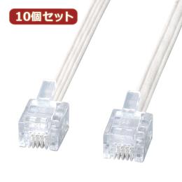 便利雑貨 10個セット エコロジー電話ケーブル TEL-E4-1N2 TEL-E4-1N2X10