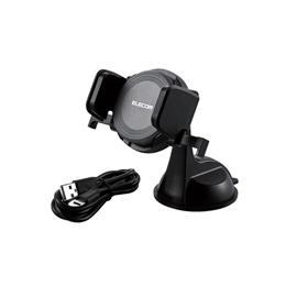 便利雑貨 Qi規格対応ワイヤレス充電器/9W/5W/車載ホルダー付/ブラック W-QC01BK