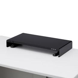 お役立ちグッズ サンワサプライ 電源タップ+USBポート付き机上ラック(W600×D300ブラック) MR-LC203BK