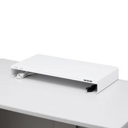便利雑貨 サンワサプライ 電源タップ+USBポート付き机上ラック(W600×D300ホワイト) MR-LC203W