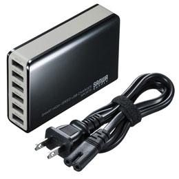 便利雑貨 サンワサプライ 6ポートUSB充電器 ACA-IP40BK
