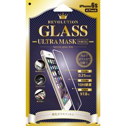 便利雑貨 Revolution GLASS Ultra MASK WHITE iPhone 6Sガラス保護フィルム 302859