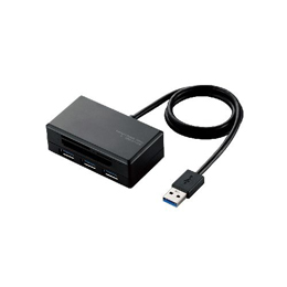 便利雑貨 エレコム USB3.0ハブ付きメモリリーダライタ MR3-H009BK