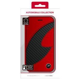 便利雑貨 フェアレディ Z CARBON LEATHER BOOK TYPE CASE RED iPhone6 PLUS用 NZ-P55B1RD