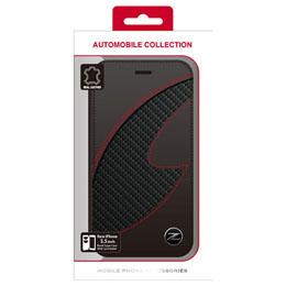便利雑貨 フェアレディ Z CARBON LEATHER BOOK TYPE CASE BLACK iPhone6 PLUS用 NZ-P55B1BK
