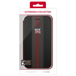 便利雑貨 GT-R CARBON LEATHER BOOK TYPE CASE iPhone6 PLUS用 NR-P55B1BK