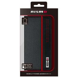 便利雑貨 NISMO CARBON LEATHER BOOK TYPE CASE iPhone6 PLUS用 NM-P55B1BK