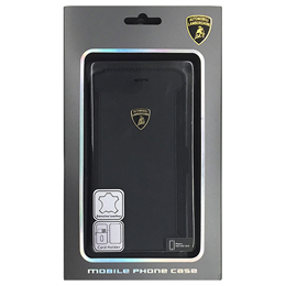 便利雑貨 ランボルギーニ Genuine Leather book case w/card holder iPhone6 用 LB-SSHFCIP6-HU/D5-BK