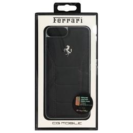 便利雑貨 フェラーリ 488 - Hard Case -  Black Genuine Leather - Red Stitches - Silver Logo FESEHCP7LBKR