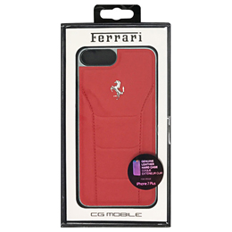 便利雑貨 フェラーリ 488 - Hard Case - Red Genuine Leather - Red Stitches - Silver Logo FESEHCP7LRE