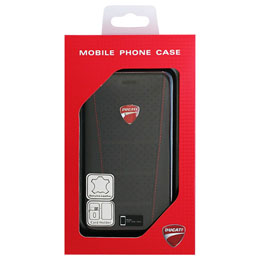 DUCATI iPhone7専用本革手帳型ケース Genuine leather book case - Black DU-FCIP7-SB/D1-BK