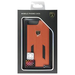 便利雑貨 ランボルギーニ Genuine leather w/carbon back cover - Orange LB-TPUPCIP7P-HU/D6-OE