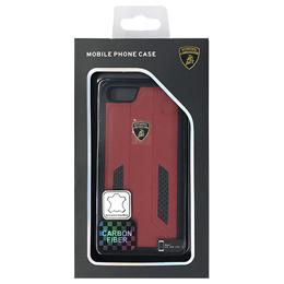 生活関連グッズ ランボルギーニ Genuine leather w/carbon back cover - Red LB-TPUPCIP7-HU/D6-RD