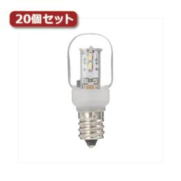 お役立ちグッズ ナツメ形LEDランプ電球色E12クリア20個セット LDT1LG20E12X20