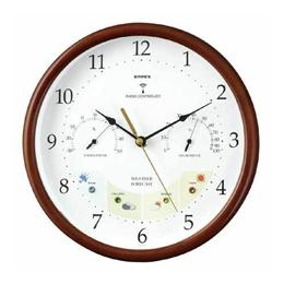 お役立ちグッズ 掛け時計 ウェザーパル 電波時計1台4役 BW-873 木枠