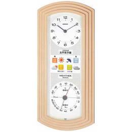 お役立ちグッズ 掛け時計 ウォールクロック 縦型 ウェザーパルEX お天気時計 BW-5267 シャンパンゴールド